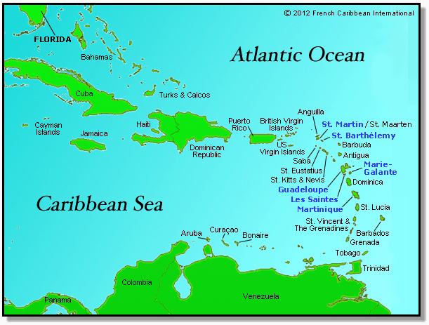French Caribbean Map © 2012 French Caribbean International
